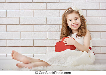 girl with red heart - Sweet child girl with red heart Happy...