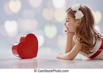 girl with red heart - Happy Valentine's Day! Sweet child...