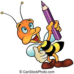 Wasp holding Pencil