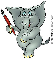 Elephant Painter - Colored Cartoon Illustration, Vector