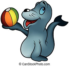 Seal playing With a Ball
