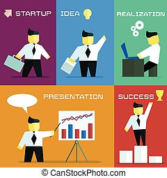 business process in flat style - Vector flat graphics The...
