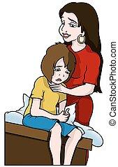Mom and Unhappy Son