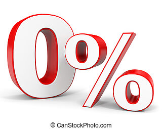Discount 0 percent off. 3D illustration.