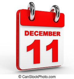 11 december calendar on white background. 3D Illustration.
