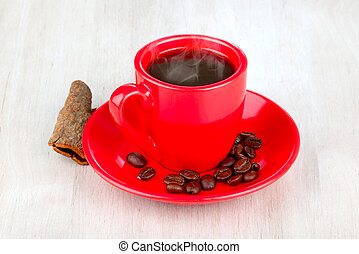 cup coffee - red cup coffee with coffee beans on wooden...