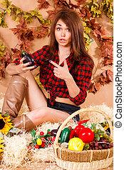 CÙte, seduta, giovane, fieno, contadino, ragazza, raccogliere