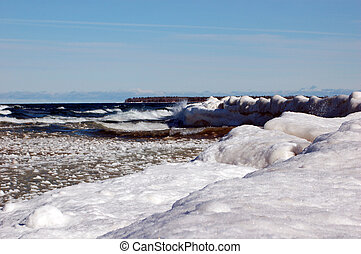 Icy Lake Superior - Ice and Snow along the cold winter beach...
