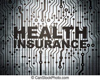 Insurance concept: circuit board with Health Insurance -...