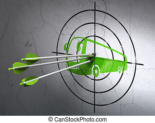 Travel concept: arrows in Bus target on wall background -...