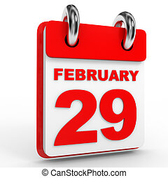 29 february calendar on white background. 3D Illustration.
