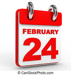 24 february calendar on white background. 3D Illustration.