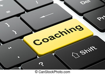 Education concept: Coaching on computer keyboard background