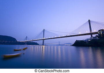 It is beautiful night scenes of Bridge in Hong Kong.