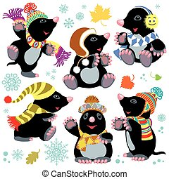 cartoon mole at winter time - set with cartoon mole wearing...