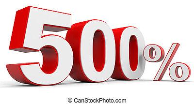 Discount 500 percent off. 3D illustration.