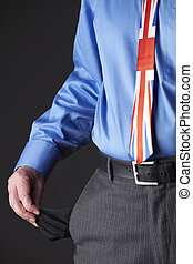 British Businessman Wearing Union Jack Tie Pulling Out Pocket To