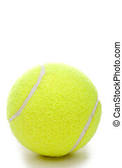 A vertical closeup of a yellow tennis ball on a white...