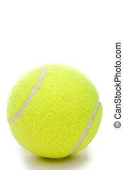 A vertical closeup of a yellow tennis ball on a white...