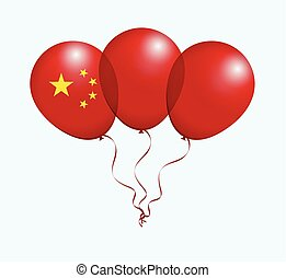 Balloons in Vector as Flag - Balloons in Vector as China...