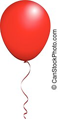 Color Glossy Red Balloon isolated