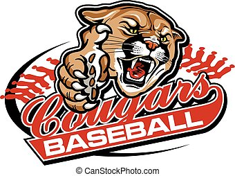 cougars baseball team design with mascot for school, college...