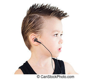 Boy with headphones - Young boy with headphones, portrait in...