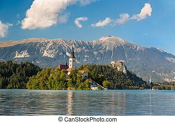 Island at Lake Bled at a sunny day, Slovenia