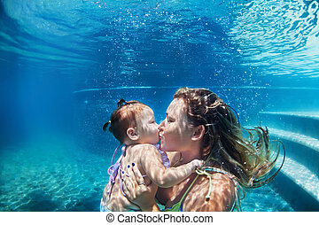 Mother with child swimming underwater in blue beach pool -...