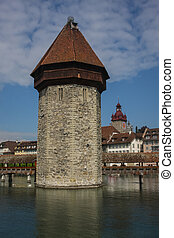 Defense tower in the center of Lucerne, Switzerland