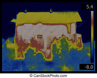 House Thermogram - House Facade Profile Thermal Imaging