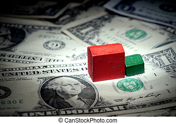A horizontal view of play houses on dollar bills