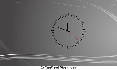 Gray background with abstract wind and clock animationClock...