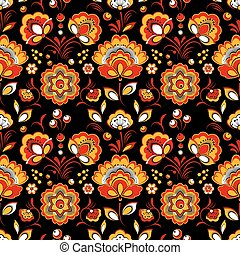 Floral seamless pattern in Russian country style - Floral...