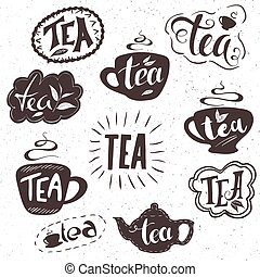 vector hand drawn set of lettering tea badge, labels, signs. Monochrome design with stylish elements.