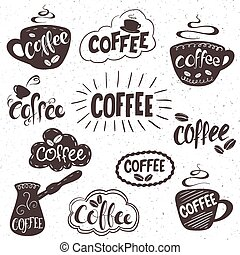 vector hand drawn set of lettering coffee badge, labels, signs. Monochrome design with stylish elements.