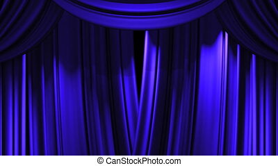 Stage Curtain - Blue Stage Curtain On Black Background Loop...
