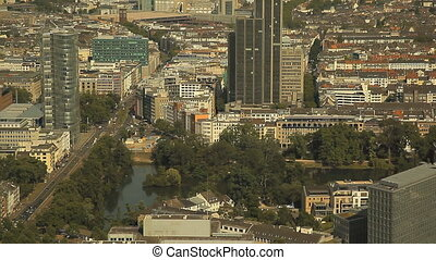 Dusseldorf from the height of bird flight - Top view of...