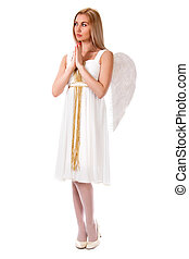Beautiful angel isolated over white background