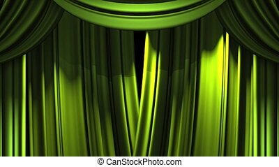Stage Curtain - Green Stage Curtain On Black Background Loop...