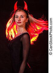 bonito, mulher, Demônio, jovem, cabelo, chifres, vermelho