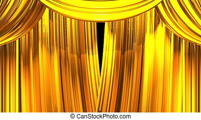Stage Curtain - Gold Stage Curtain On Black Background. Loop...
