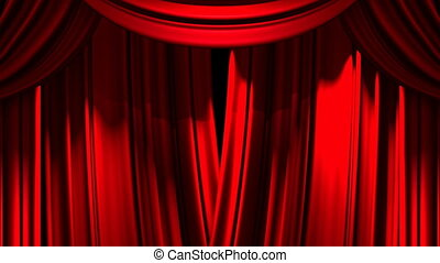 Stage Curtain - Red Stage Curtain On Black Background Loop...