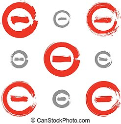 Set of red hand-drawn validation icons scanned and...