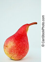 One red pear - Macro shot of a single red pear over white...
