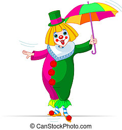 Rope-walker Clown girl with umbrella