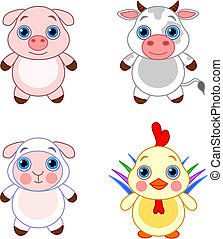 Cute animals set 03 - Cute funny baby farm animals set.