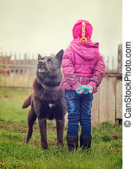 Angry dog stares at the child - Angry dog stares at a...