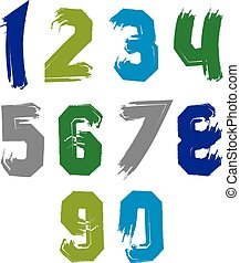 Creative handwritten colorful numbers set from 0 to 10,...
