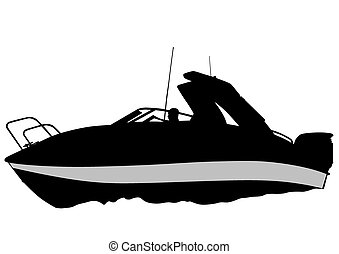 Boat on water - Silhouette of retro ship on white background